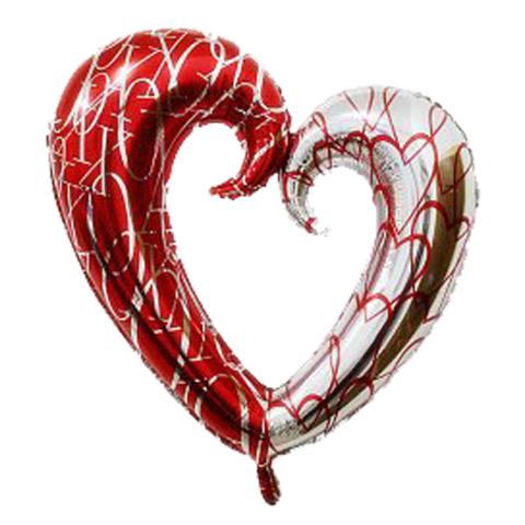 Шар-сердце витое красный-серебро, 108 см