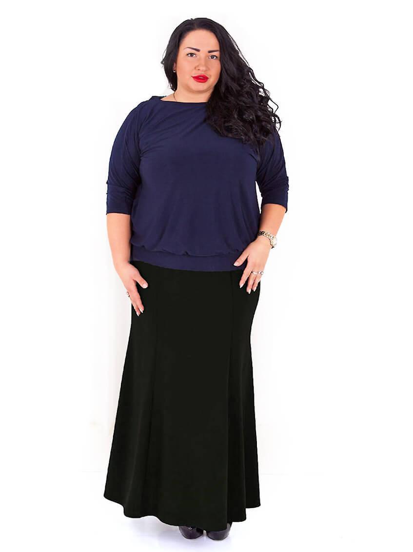 Длинная теплая черная юбка 80 размера