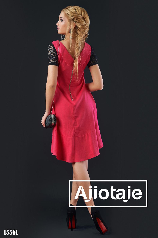 Коралловое платье А-силуэта с вырезом на спинке