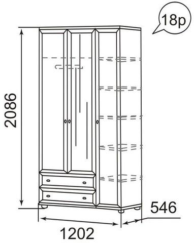 Шкаф для одежды трехдверный Ника-Люкс 18Р Ижмебель дуб бодега