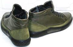 Кожаные демисезонные ботинки со шнуровкой термо Luciano Bellini BC2803 TL Khaki.