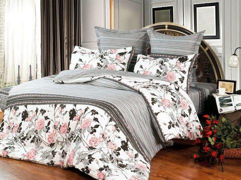 Сатиновое постельное бельё  1,5 спальное Сайлид  В-116