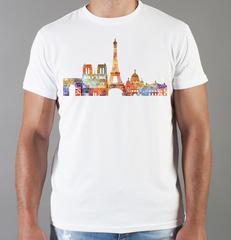 Футболка с принтом Париж, Франция, Эйфелева башня (France/ Paris) белая 0012