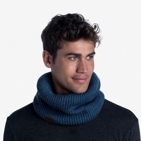 Вязаный шарф-труба с флисом Buff Neckwarmer Knitted Polar Rutger Steelblue фото 2