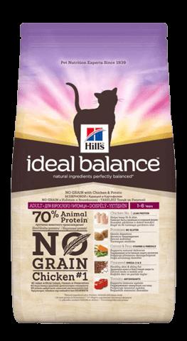 купить Hill's™ Ideal Balance™ Feline Adult with Chicken & Potato сухой беззерновой корм для кошек с курицей и картошкой  2 кг