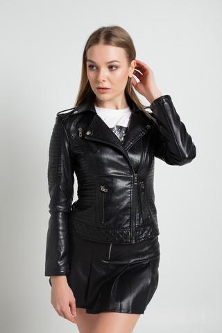 Куртка из кожзама стеганная купить