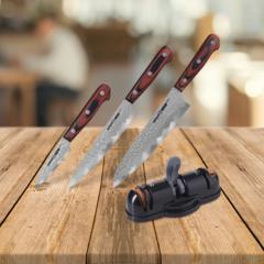 Набор из 3 кухонных ножей SAMURA KAIJU и точилки KSS-3000