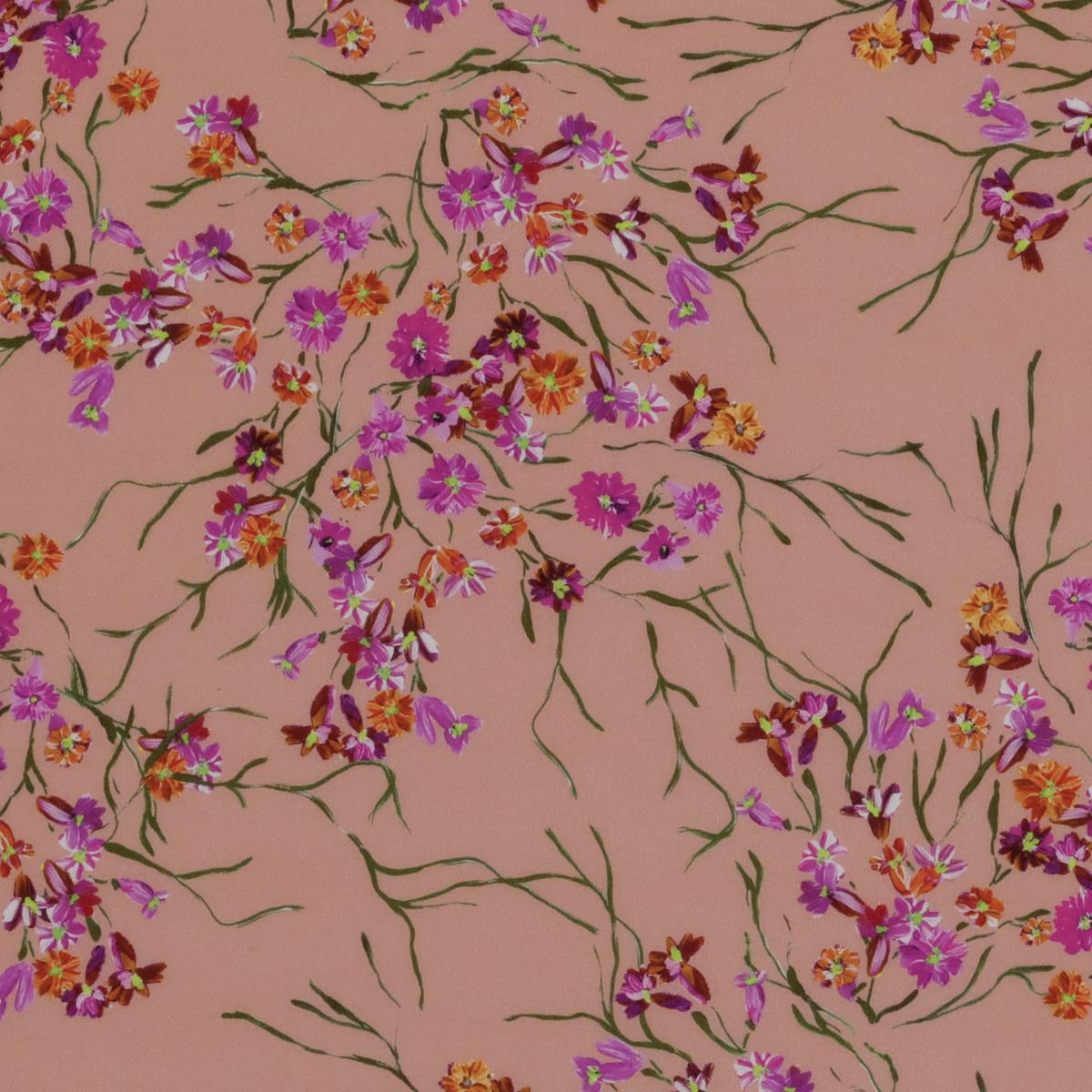 Шёлковая ткань в россыпь оранжевых и цвета фуксии соцветий