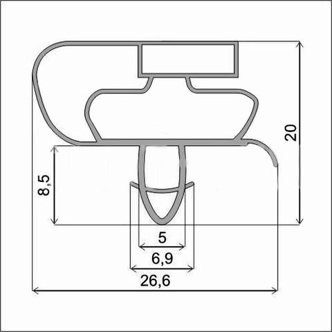 Уплотнитель для холодильника Whirpool WBA 3688 NFC х.к. 1060*545 мм по пазу(035 АНАЛОГ)