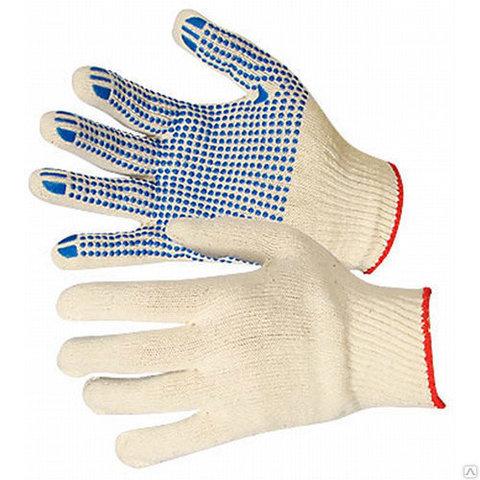 Перчатки х/б с ПВХ Точка, 4-х нитка, 10й класс вязки