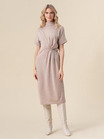 Женское бежевое платье из 100% шерсти - фото 1