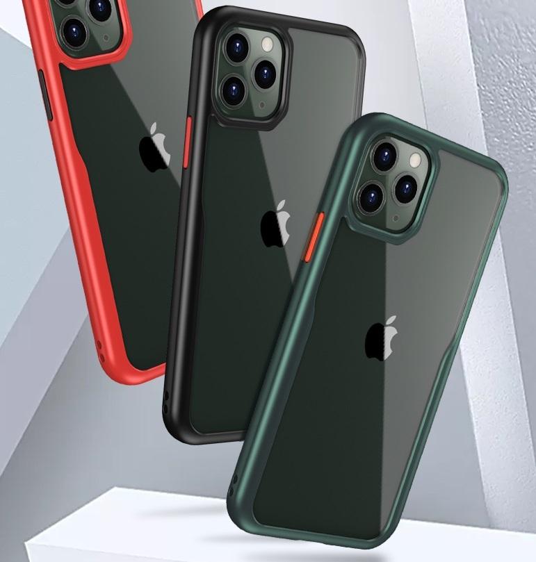 Тонкий чехол на iPhone 11 Pro с зелеными рамками и красными кнопками, серии Ultra Hybrid от Caseport