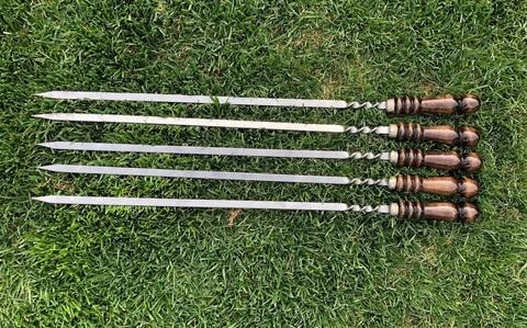 Шампур для люля-кебаб с деревянной ручкой