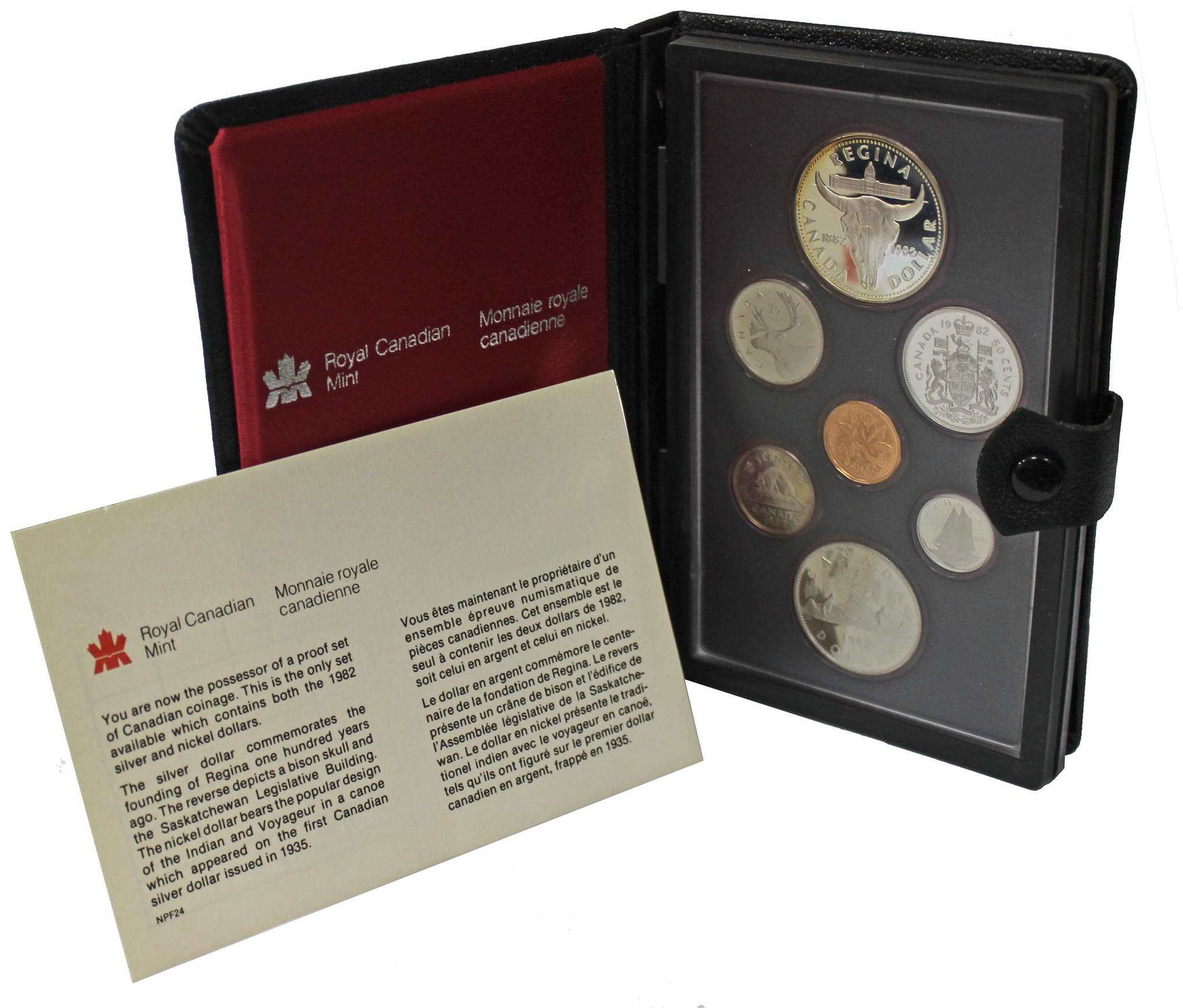 Набор монет Канады 1982 год, в кожаном футляре (Серебро, никель, бронза). PROOF