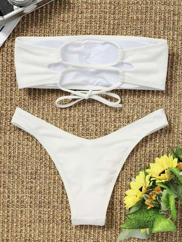 купальник раздельный бандо белый в рубчик на шнуровке сзади 2