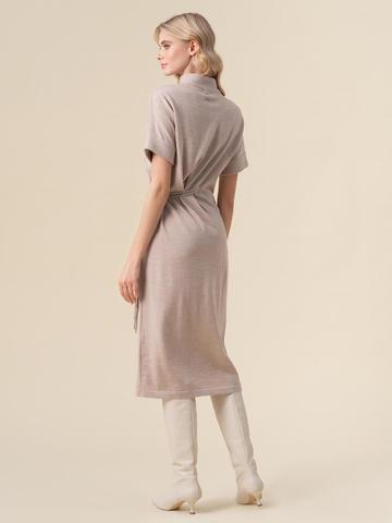 Женское бежевое платье из 100% шерсти - фото 2
