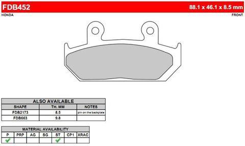 Тормозные колодки для Honda Steed дисковые FERODO MOTO FDB452P (до 94 года)