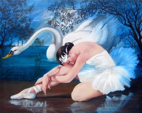 Алмазная Мозаика 40x50 Балерина и лебедь (арт. HWSA5162)