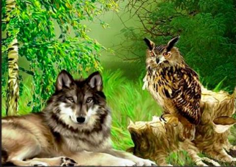 Алмазная Мозаика 40x50 Дружба волчицы и совы (арт. GA711777)