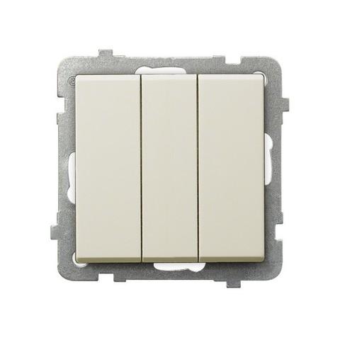 Выключатель трёхклавишный. Цвет Бежевый. Ospel. Sonata. LP-13R/m/27