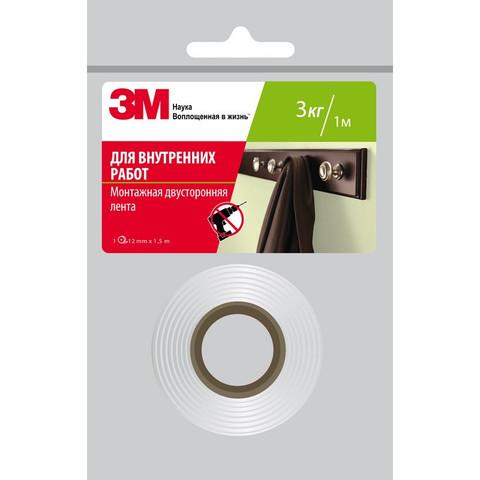 Скотч клейкая лента двусторонняя монтажная для внутренних работ 3M на вспененной основе 12 мм х 1.5 м