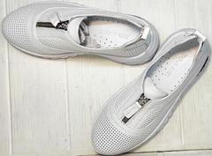 Белые кожаные кроссовки женские туфли с перфорацией летние Wollen P029-259-02 All White.