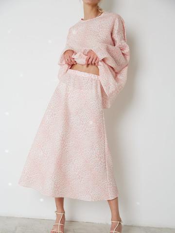 Юбка изо льна Леопард розовый