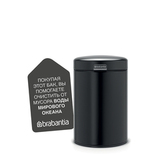 Мусорный бак newIcon настенный (3л), Черный матовый, артикул 116247