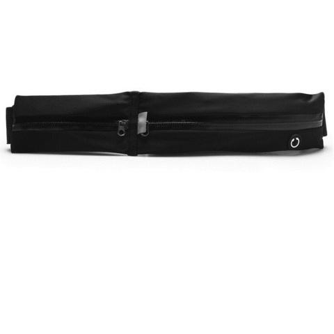 Сумка спортивная на пояс 32 см, 2 отделения, цвет черный
