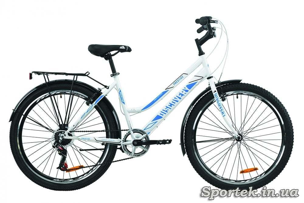 Біло-блакитний міський жіночий велосипед Discovery Prestige Woman (Діскавері Престиж Вумен)