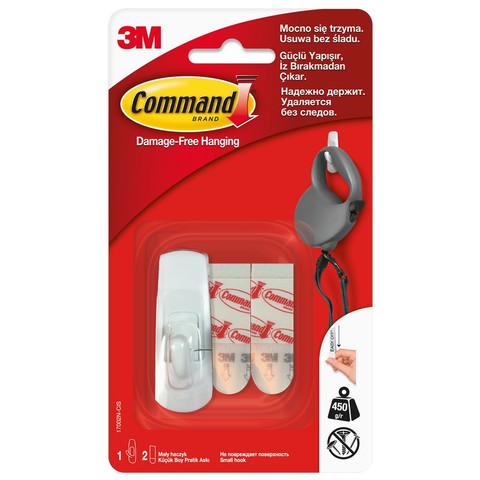 Крючок Command белый нагрузка до 450 г (1 штука + 2 клейких полоски)