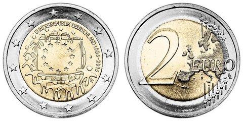 2 евро 2015 Германия - 30 лет флагу Европейского союза