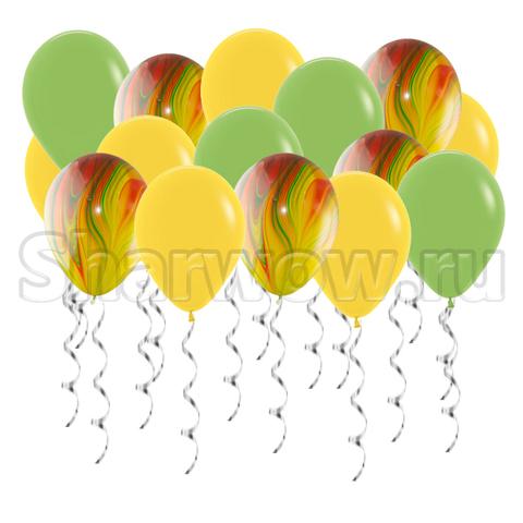 Воздушные шары под потолок Желтые и зеленые оттенки