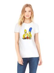 Футболка с принтом мультфильма Симпсоны, Барт, Мардж, Гомер, Лиза, Мэгги (The Simpsons) белая w001