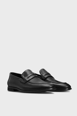 Мужские черные кожаные лоферы Basilio PRPY
