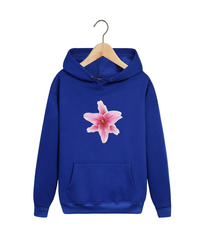 Толстовка синяя с капюшоном (худи, кенгуру) и принтом Цветы (Лилии) 001