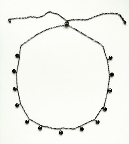 A70360 - Колье из серебра в черном родаже с черными цирконами бриллиантовой огранки