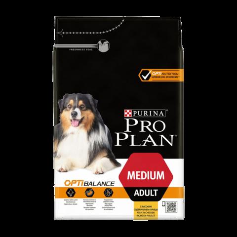 Purina Pro Plan Adult Optibalance Medium Сухой корм для собак средних пород с курицей и рисом