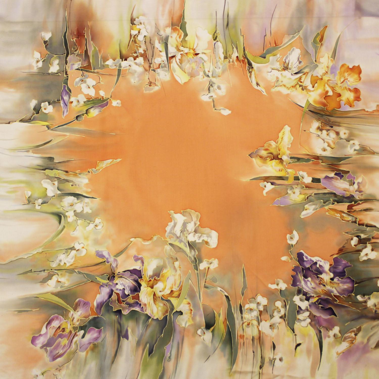 Платок батик Весенние ирисы С-74