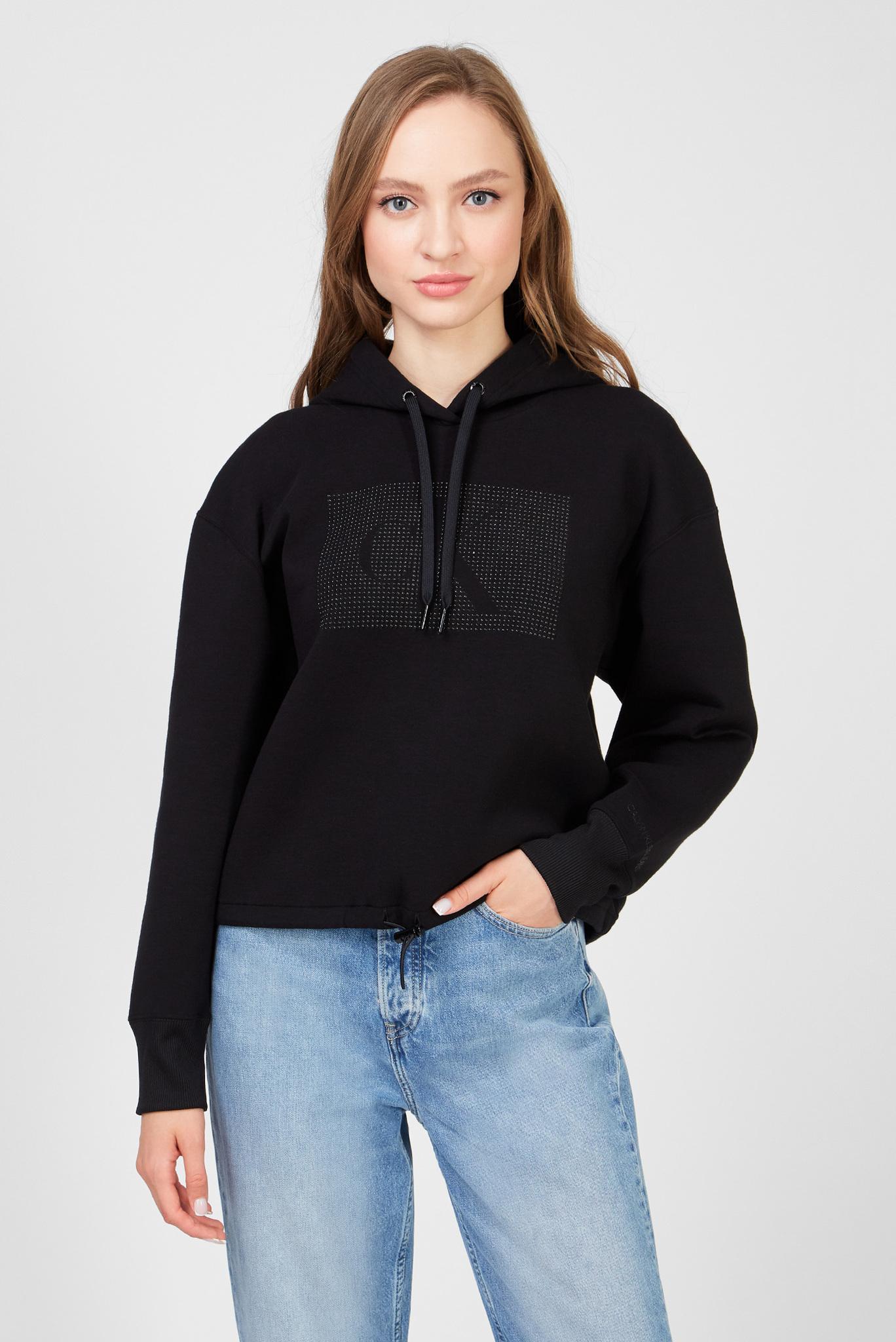 Женское черное худи CK LOGO COTTON BONDED Calvin Klein