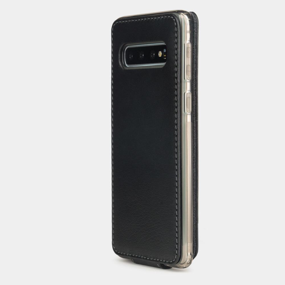 Чехол для Samsung Galaxy S10 из натуральной кожи теленка, черного цвета