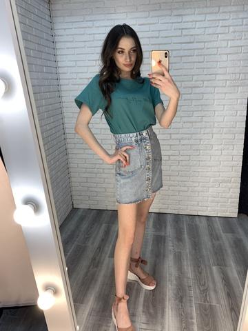 юбка джинсовая с пуговицами впереди купить