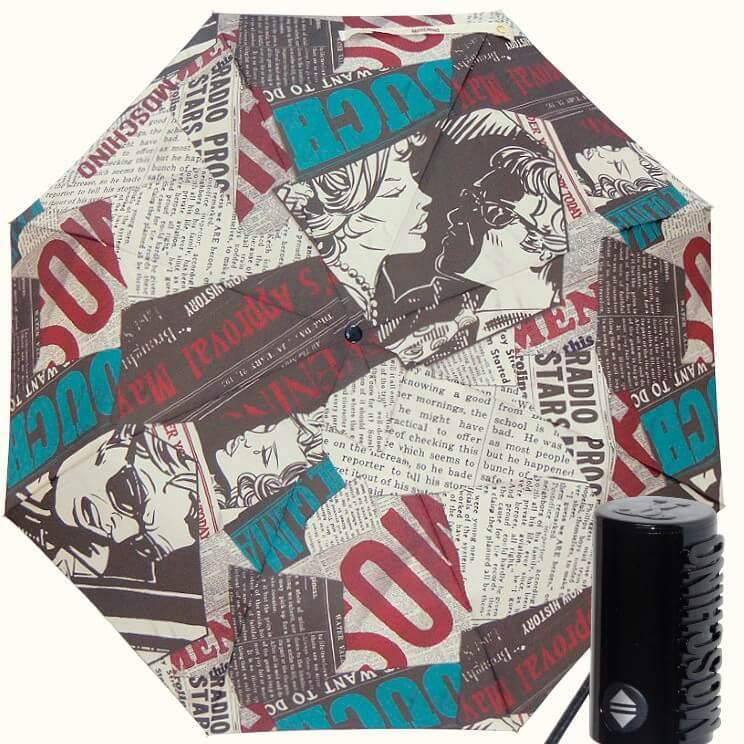 Зонт складной Moschino 8930 Newspaper