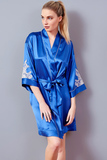 Шелковый халат-кимоно с кружевом Verdiani