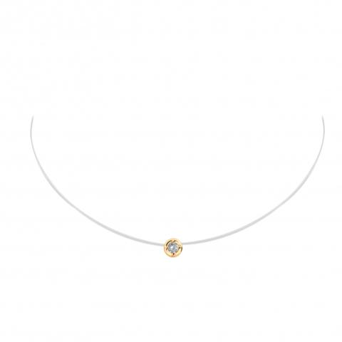 01Л111584 - Фианит из золота 585 пробы на леске-невидимке