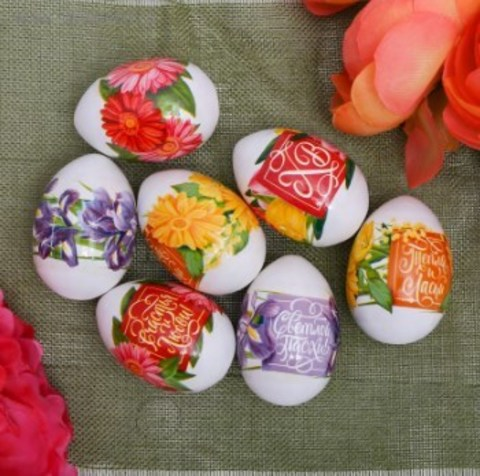 060-0083 Пасхальная термоусадочная плёнка «Пожелания в цветах», на 7 яиц