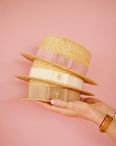 Соломенная шляпа-канотье с мишкой