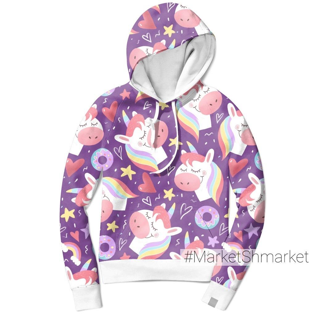 Единорожки на фиолетовом фоне