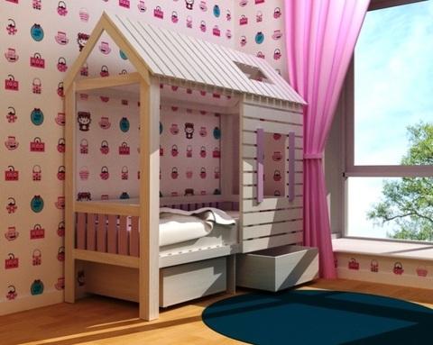 Кровать АМИ-1 с ящиками левая