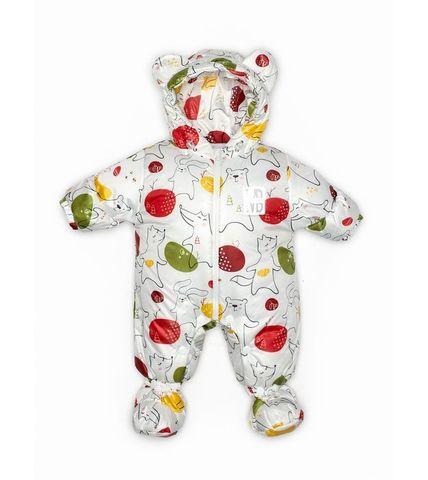 Malek baby. Комбинезон непромокаемый утепленный, медведь и заяц на белом